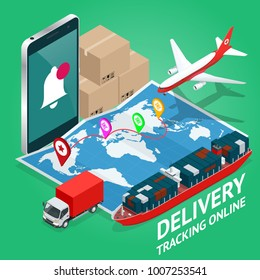 Isometric Mobile smart phone with mobile app delivery tracking. Vector modern flat creative info graphics design on delivery tracking application. Global logistics network