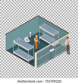 Isometric model of modern prison on transparent background. Vector jail, cartoon flat design vector illustration.-stock vector