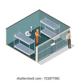 Isometric model of modern prison. Vector jail, cartoon flat design vector illustration.-stock vector