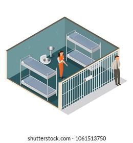 Isometric model of modern prison. Woman in prison. Vector jail, cartoon flat design vector illustration.-stock vector