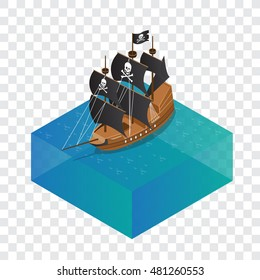 Isometric model Pirate Ship with fog and water