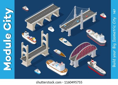 Isometric models of ships, yachts, boats and sea freight vehicles industry with bridges