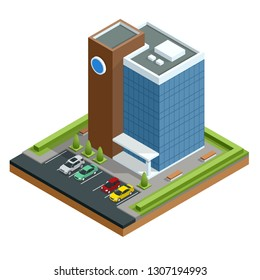 Isometric modern business center with parking and cars. Commercial office building isolated vector illustration