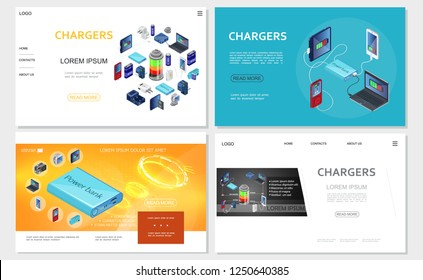 Isometric modern chargers websites set with power bank batteries portable charging sources for electronic devices vector illustration