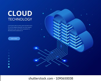 Isometric modern cloud technology and networking concept. Web cloud technology business. Internet data services vector illustration