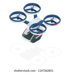 Isometric modern futuristic air passenger transport. Air taxi. Modern unmanned electric aircraft isolated on white background. Vector illustration