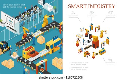 Isometric modern industrial production composition with automated assembly and packaging lines robotic arms engineers operators vector illustration