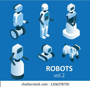Isometric modern robotics icon set. Vector isolated illustration. Household, service, industrial and security robots. Cute humanoid male and female robots, robot dog.