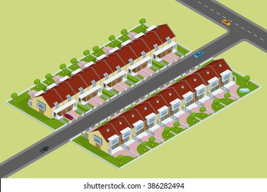 Isometric Modern townhouses. Residential buildings with outdoor facilities. Facade of new low-energy houses.