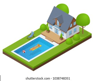 Isometric Modern Villa outdoor with swimming pool. Enjoying suntan woman in bikini and man on the inflatable mattress in the swimming pool. Enjoying suntan. Summer Vacation