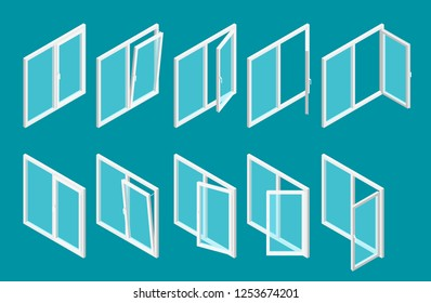 Isometric modern white plastic windows set with transparent glass. Vector illustration of open and close window.