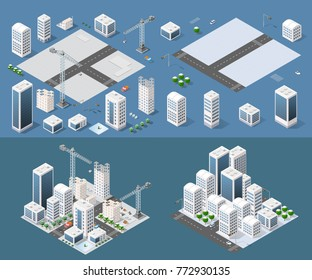 Isometric module is area landscape skyscrapers for constructing the design and construction of dimensional city for creativity and conceptual presentation