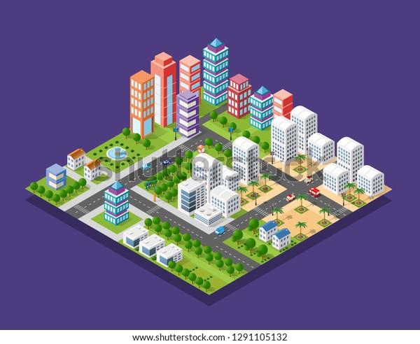 Isometric Module City Skyscraper Urban Building Stock Vector ...