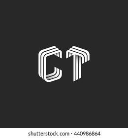 Isometric monogram initials CT logo for business card, design element decoration combination group letters C T wedding invitation emblem