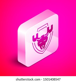 Isometric Moose head on shield icon isolated on pink background. Hunting trophy on wall. Silver square button. Vector Illustration