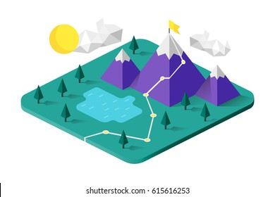 Isometric mountains. Metaphor or symbol of overcoming adversity in strategy and finding leadership solutions corporate of success.  Vector illustration. Material design. Flat style.