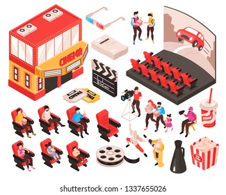 Isometric movie cinema set of isolated elements theater building audience seats and accessories of movie watchers vector illustration