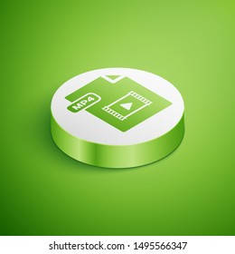 Isometric MP4 file document. Download mp4 button icon isolated on green background. MP4 file symbol. White circle button. Vector Illustration