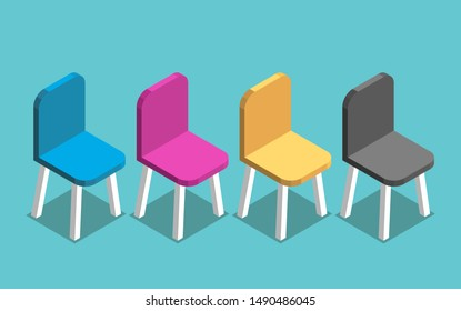 Isometric multicolor CMYK colored chairs on turquoise blue. Creativity, interior, design, waiting, meeting, print and job concept. Flat design. EPS 8 vector illustration, no transparency, no gradients