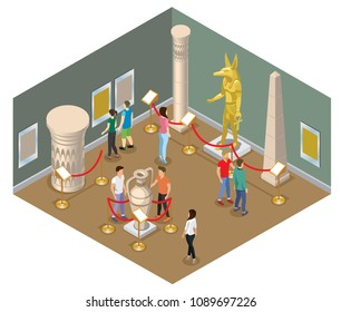 Isometric museum hall concept with visitors view pharaoh statue pictures ancient amphora column and historical buildings isolated vector illustration