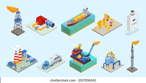 Isometric natural gas industry elements set with rig truck tanker burner pipelines refinery plant offshore platform column isolated vector illustration