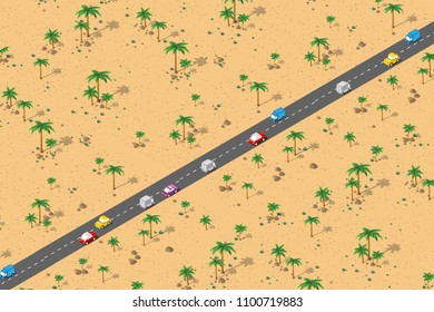 An isometric natural landscape of palm trees, vector illustration of a desert with sand, stones cars and bushes. Conceptual 3d graphics for the transport background.