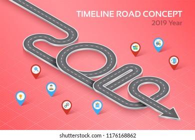 Isometric navigation map infographic 8 steps timeline concept 2019. Vector illustration