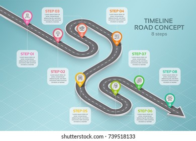 Isometric navigation map infographic 8 steps timeline concept. Vector illustration