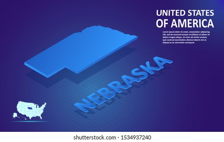Isometric NEBRASKA State map on blue and glowing background. 3D Detailed Map in perspective with place for your text or description.Technology Information Graphic Elements for Website, app, UI, Travel