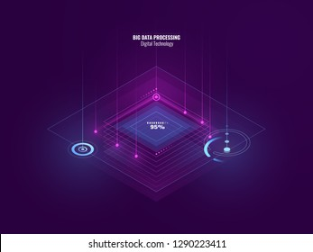 Isometric neon banner of digital technology, big data processing, server room, future of tech, line of moving flow of data, internet security, blockchain concept, isometric vector pink blue