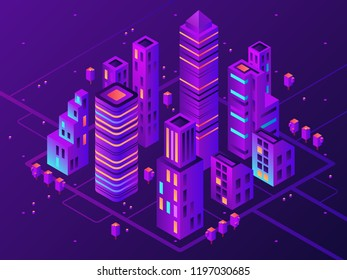 Isometric neon town. Futuristic illuminated city, future megapolis highway illumination electrical construction and night business district building, modern cityscape 3d vector illustration
