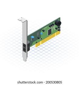Isometric Network Card Vector Illustration