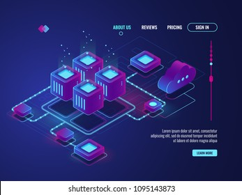 Isometric networking conncetion, internet network topology concept, server room, data center and database icon, cloud storage vector dark ultra violet neon