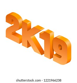 Isometric new year 2019 in popular slang
