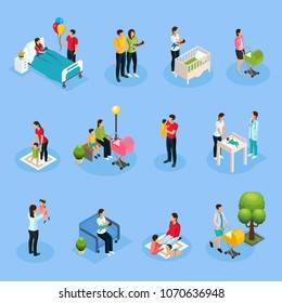 Isometric newborn elements set with father mother takes care of baby playing walking with kid visiting pediatrician isolated vector illustration