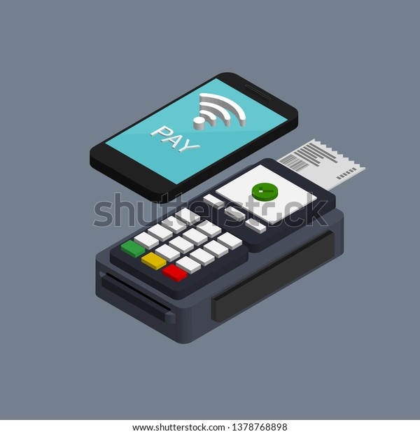 Isometric Nfc Mobile Payment Vector Pos Stock Vector (Royalty Free