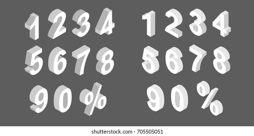 Isometric number template.. 3D number template.