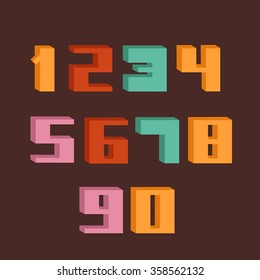 Isometric Numbers Set. Font. Flat Style Vector Illustration