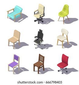 Isometric Office chairs on white background. Vector low poly illustration.