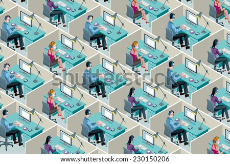 Isometric Office Cubicles. Men and women working with headset in a call center.