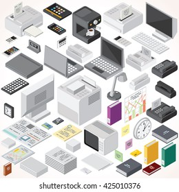 Isometric Office Equipments and Interior Items. Vector Collection. Set of Electronic Equipments, Workplace Supplies, Computers, Devices etc.