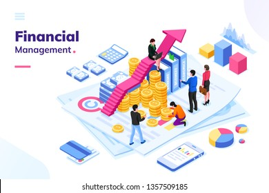 Isometric office with financial auditor or finance people. Man and woman auditor doing tax report or money inspection. Team or cartoon group near growth arrow and coins. Analysis concept, money review