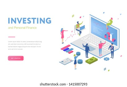 Isometric office with financial auditor or finance people. Man and woman auditor doing tax report or money inspection. Team or cartoon group near growth arrow and coins. Analysis concept money review
