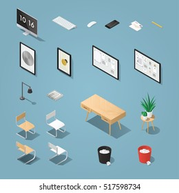 Isometric office furniture and computer set. Detailed objects. Collection includes mid century table, chair, painting, picture, board, lamp, chair, houseplants, desktop computer, keyboard, phone.