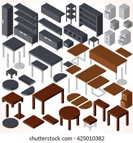 Isometric Office Furniture. Vector Collection. Set of Various Cabinets, Shelves, Tables, BookCases, Desks etc.