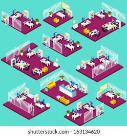 Isometric office interior icons: reception, top management, meeting room, waiting room, workspace, open space, co-working, colleagues, chairs and working places.