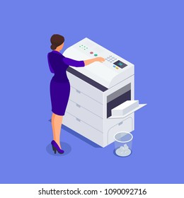 Isometric office life concept. A woman works on a photocopier. 3d office worker makes copies on the scanner. Vector illustration.