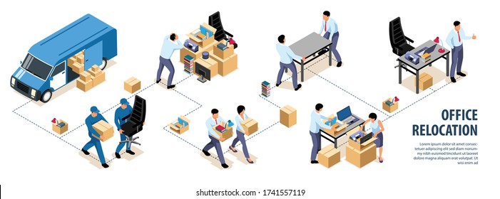 Isometric office move infographics with images of people with boxes and van combined in flowchart composition vector illustration