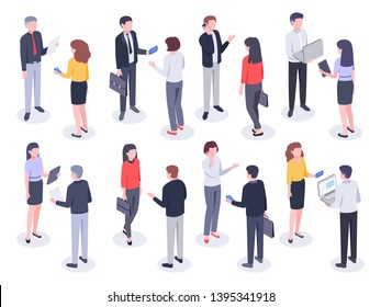 Isometric office people. Business persons, bank employee and professional corporate businessman vector 3D illustration set