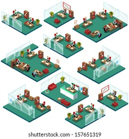 Isometric Office People Structure with Different Departments